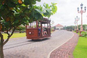 a passing tram
