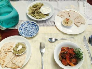 Appetizers: Tzatziki with Lettuce Chips, Hummus with Whole Wheat Tortilla and Ratatouille